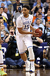 13 March 2015: Duke's Jahlil Okafor. The Notre Dame Fighting Irish played the Duke University Blue Devils in an NCAA Division I Men's basketball game at the Greensboro Coliseum in Greensboro, North Carolina in the ACC Men's Basketball Tournament semifinal game. Notre Dame won the game 74-64.
