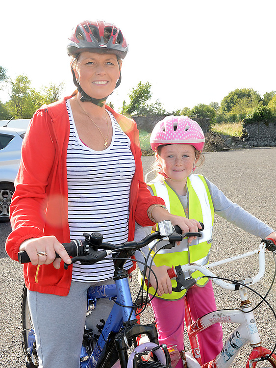 Sandra and Michaela Loughran who took part in the charity cycle to raise funds towards the new primary school in Duleek. Photo:Colin Bell/pressphotos.ie