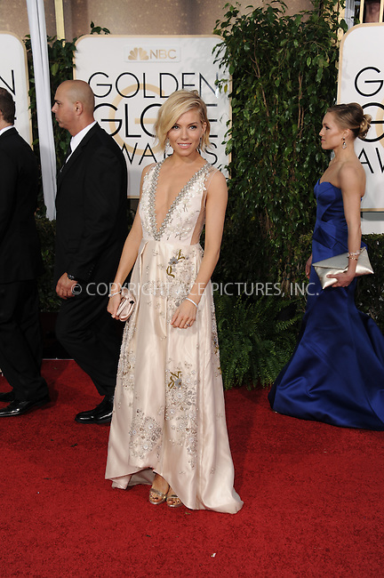 WWW.ACEPIXS.COM<br /> <br /> January 11 2015, LA<br /> <br /> Sienna Miller arriving at the 72nd Annual Golden Globe Awards at The Beverly Hilton Hotel on January 11, 2015 in Beverly Hills, California.<br /> <br /> By Line: Peter West/ACE Pictures<br /> <br /> <br /> ACE Pictures, Inc.<br /> tel: 646 769 0430<br /> Email: info@acepixs.com<br /> www.acepixs.com