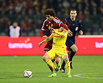 Belgium's Marouane Fellaini catches Wales' Joe Allen with an elbow<br /> <br /> - European Qualifier - Belgium vs Wales- Heysel Stadium - Brussels - Belgium - 16th November 2014  - Picture David Klein/Sportimage