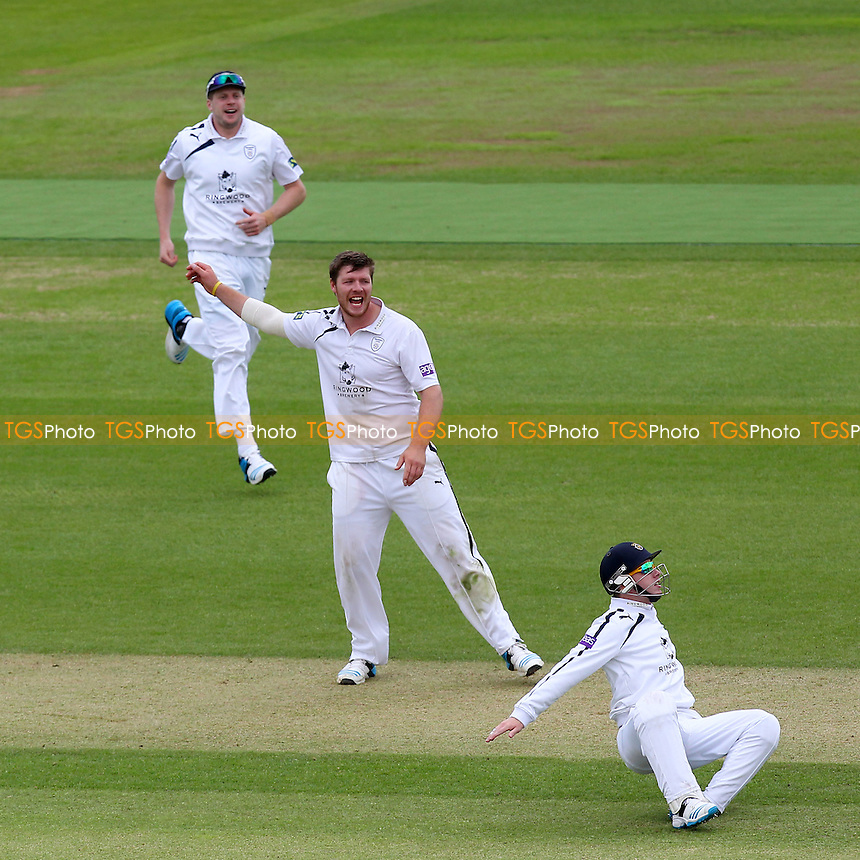 Matt Coles (C) of Hampshire celebrates as Adam Wheater (R) takes a catch to dismiss David Masters - Hampshire CCC vs Essex CCC - LV County Championship Division Two Cricket at the Ageas Bowl, West End, Southampton - 16/06/14 - MANDATORY CREDIT: Gavin Ellis/TGSPHOTO - Self billing applies where appropriate - 0845 094 6026 - contact@tgsphoto.co.uk - NO UNPAID USE