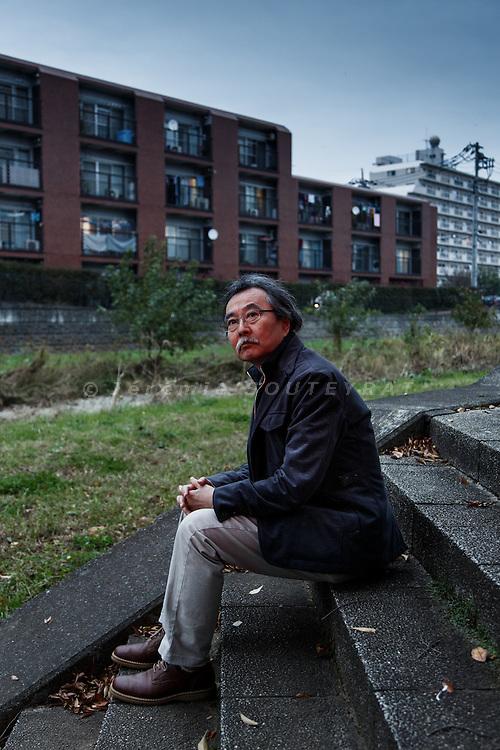 Tokyo, November 9 2014 - Portrait of the manga artist Jiro Taniguchi near his atelier in Higashimurayama.