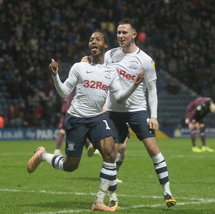 Preston North End's Daniel Johnson celebrates scoring his sides first goal <br /> <br /> Photographer Mick Walker/CameraSport<br /> <br /> The EFL Sky Bet Championship - Preston North End v Swansea City - Saturday 12th January 2019 - Deepdale Stadium - Preston<br /> <br /> World Copyright &copy; 2019 CameraSport. All rights reserved. 43 Linden Ave. Countesthorpe. Leicester. England. LE8 5PG - Tel: +44 (0) 116 277 4147 - admin@camerasport.com - www.camerasport.com