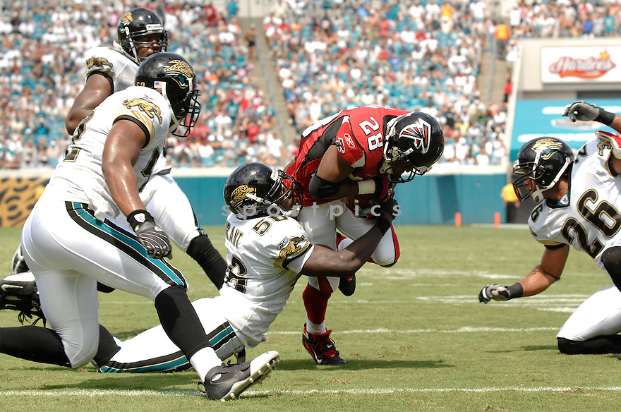 JUSTIN DURANT, of the Jacksonville Jaguars, in action during the Jaguars game against the Atlanta Falcons  in Jacksonville, FL on September 16, 2007.  The Jaguars won the game 13-7............