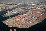 Aerial view of cargo containers in the Port of Long Beach, CA