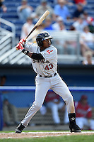 Mahoning Valley Scrappers outfielder Greg Allen (43) at bat during a game against the Batavia Muckdogs on August 24, 2014 at Dwyer Stadium in Batavia, New York.  Mahoning Valley defeated Batavia 7-6.  (Mike Janes/Four Seam Images)