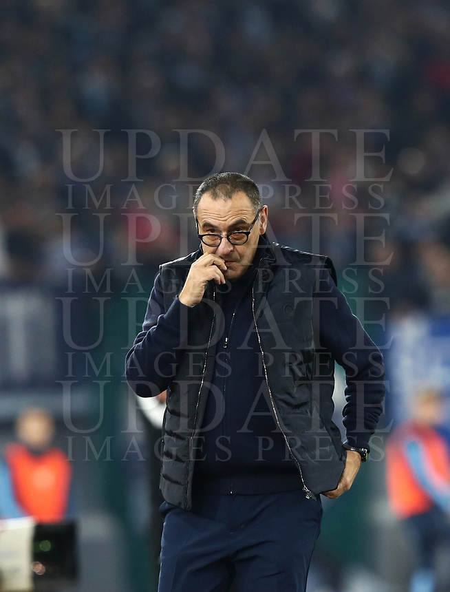 Football, Serie A: S.S. Lazio - Juventus Olympic stadium, Rome, December 7, 2019. <br /> Juventus' coach Maurizio Sarri looks on during the Italian Serie A football match between S.S. Lazio and Juventus at Rome's Olympic stadium, Rome on December 7, 2019.<br /> UPDATE IMAGES PRESS/Isabella Bonotto
