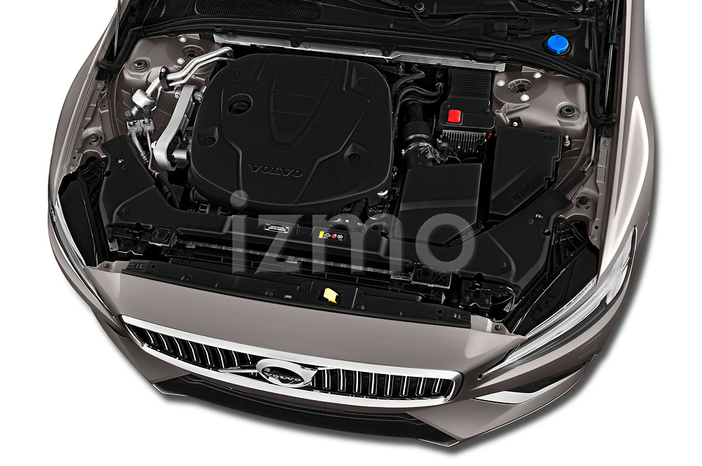 Car stock 2019 Volvo V60 Inscription 5 Door Wagon engine high angle detail view