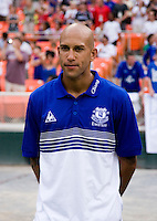 Everton goalkeeper Tim Howard stands on the sideline before his friendly match held at RFK Stadium in Washington, DC.  D.C. United lost to Everton, 3-1.