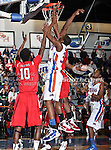 Texas-Arlington Mavericks forward Brandon Edwards (35) goes in for a lay up in the game between the Lamar University Cardinals and the University of Texas-Arlington Mavericks held at the University of Texas in Arlington's Texas Hall in Arlington, Texas. Lamar defeats UTA 76 to 72