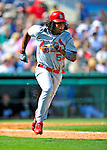 1 March 2009: St. Louis Cardinals' left fielder Brian Barton hustles to first base in the fifth inning during a Spring Training game against the Florida Marlins at Roger Dean Stadium in Jupiter, Florida. The Cardinals outhit the Marlins 20-13 resulting in a 14-10 win for the Cards. Mandatory Photo Credit: Ed Wolfstein Photo