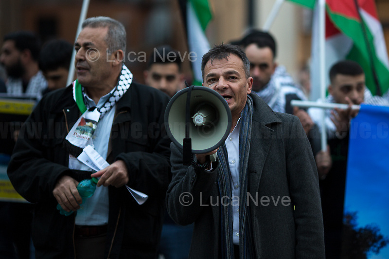 """Stefano Fassina MP (Italian economist and politician, Member of Parliament elected with LeU, Liberi e Uguali).<br /> <br /> Rome, 31/01/2020. Today, Pro-Palestinian activists and members of the public gathered in Piazza Barberini to protest (1.) against the """"Peace To Prosperity"""" plan (AKA the """"Deal of the Century"""", 2.) made by the President of the United States, Donald Trump, to allegedly solve the long-standing conflict between Palestine and Israel. From the organisers Facebook event page: «The Palestinian community in Rome and Lazio invites all those who believe in the values of freedom, justice and self-determination of peoples to held a sit-in Piazza Barberini in Rome in solidarity with the Palestinian people and to ask to reject the shameful plan announced by Trump. The sit-in was organized by the Palestinian Community in Rome and Lazio, Assopace Palestina [3.] and Rete Romana di Solidarietà con il Popolo Palestinese [4.] […]». During the sit-in a small delegation of protesters were allowed to demonstrate outside the US Embassy in Rome, near Piazza Barberini.<br /> <br /> Footnotes & Links:<br /> 1. http://bit.do/frfng<br /> 2. """"Peace To Prosperity Plan"""" (Full text. Source, Whitehouse.gov ENG) http://bit.do/frfo3<br /> 3. http://www.assopacepalestina.org/<br /> 4. http://bit.do/frfpo"""