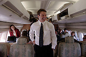 Memphis, Tennessee.USA.February 4, 2004..Senator John Edwards on his plane as he heads off from Memphis to Norfolk, Virginia..