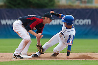 25 july 2010: Maxime Lefevre of France is tagged out on second base by Petr Baroch during France 6-1 victory over Czech Republic, in day 3 of the 2010 European Championship Seniors, in Neuenburg, Germany.