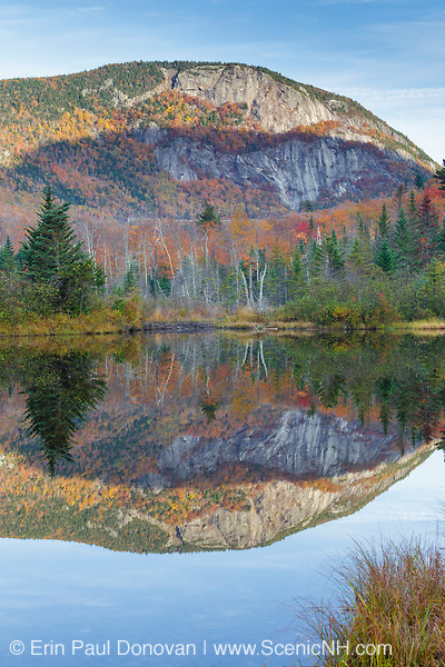 Crawford Notch State Park - Reflection of Mount Willard in the Saco River at the Willey House Historical Site in the White Mountains, New Hampshire during the autumn months.
