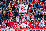 Solna 2015-09-08 Fotboll EM-kval , Sverige - &Ouml;sterrike :  <br /> &Ouml;sterrikes supportrar med en flagga under matchen mellan Sverige och &Ouml;sterrike <br /> (Photo: Kenta J&ouml;nsson) Keywords:  Sweden Sverige Solna Stockholm Friends Arena EM Kval EM-kval UEFA Euro European 2016 Qualifying Group Grupp G &Ouml;sterrike Austria supporter fans publik supporters