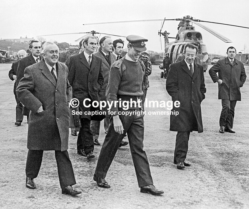 UK Prime Minister Harold Wilson on arrival at Ballykinlar Military Base, Co Down, during a 18th December 1975  pre-Christmas visit to troops serving in N Ireland. He also visit soldiers stationed in Londonderry. Following his visit there two soldiers died in a Provisional IRA bomb attack. 197512180789a<br /> <br /> Copyright Image from Victor Patterson, 54 Dorchester Park, Belfast, UK, BT9 6RJ<br /> <br /> Tel: +44 28 9066 1296<br /> Mob: +44 7802 353836<br /> Voicemail +44 20 8816 7153<br /> Email: victorpatterson@me.com<br /> Email: victorpatterson@gmail.com<br /> <br /> IMPORTANT: My Terms and Conditions of Business are at www.victorpatterson.com