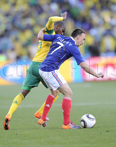 22 06 2010   Bloemfontein June 22 2010  France s Franck Ribery vies with A Player of South Africa during . 2010 FIFA World Cup France v South Africa, played Bloemfontein, South Africa at the Free State Stadium.
