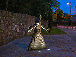 A night shot of Msgr Hugh o'Flaherty statue in Killarney.<br /> Photo Don MacMonagle