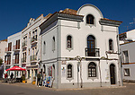 Historic buildings street scene Tavira, Algarve, Portugal, southern Europe