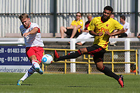 Chez Isaac of Woking takes a shot at the Watford goal during Woking vs Watford, Friendly Match Football at The Laithwaite Community Stadium on 8th July 2017