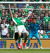 June 11th 2017, Dublin, Republic Ireland; 2018 World Cup qualifier, Republic of Ireland versus Austria;  James McClean of Ireland brings down a high ball on his chest in front of the Austrian goal