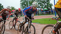 31 AUG 2015 - IPSWICH, GBR - Charlie Rumbold (centre) of Ipswich chases the leader during a heat at the British Cycle Speedway Championships at Whitton Sports and Community Centre in Ipswich, Suffolk, Great Britain (PHOTO COPYRIGHT © 2015 NIGEL FARROW, ALL RIGHTS RESERVED)