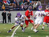 Justin Reh (#11) and Jack Cook (#28) battle for a ground ball as UAlbany Men's Lacrosse defeats Richmond 18-9 on May 12 at Casey Stadium in the NCAA tournament first round.