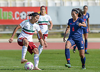20190301 - LARNACA , CYPRUS : Mexican Stephany Mayor pictured in a duel with Thai Pikul Khueanpet (r) during a women's soccer game between Thailand and Mexico , on Friday 1 March 2019 at the GSZ Stadium in Larnaca , Cyprus . This is the second game in group B for both teams during the Cyprus Womens Cup 2019 , a prestigious women soccer tournament as a preparation on the FIFA Women's World Cup 2019 in France . PHOTO SPORTPIX.BE | DAVID CATRY
