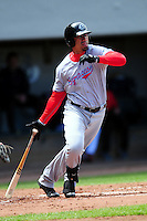 Syracuse Chiefs first baseman Kila Ka'Aihue (7) during a game versus the Pawtucket Red Sox at McCoy Stadium in Pawtucket, Rhode Island on April 30, 2015.  (Ken Babbitt/Four Seam Images)
