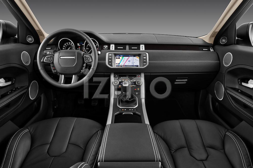 Straight dashboard view of a  2011 Land Rover Range Rover Evoque SUV.