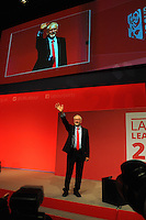 Liverpool, England. 24th September, 2016. <br /> Jeremy Corbyn is announced as the new leader of the Labour Party at the ACC Conference Centre. Mr Corbyn&rsquo;s victory followed nine weeks of campaigning against fellow candidate, Owen Smith. Mr Corbyn acknowledges the conference audience following his victory speech.This is his second leadership victory in just over twelve months and was initiated by the decision of Angela Eagle to stand against him. Kevin Hayes/Alamy Live News