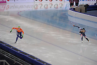 SPEEDSKATING: SOCHI: Adler Arena, 24-03-2013, Essent ISU World Championship Single Distances, Day 4, 500m Ladies, Thijsje Oenema (NED), Sang-Hwa Lee (KOR), © Martin de Jong