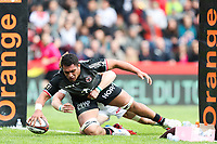 Selevasio Tolofua of Toulouse scores a try during the Top 14 match between Toulouse and Pau at Stade Ernest Wallon on May 4, 2019 in Toulouse, France. (Photo by Manuel Blondeau/Icon Sport)