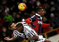 Calcio, Serie A:  Bologna vs Juventus. Bologna, stadio Renato Dall'Ara, 19 febbraio 2016. <br /> Juventus&rsquo; Stefano Sturaro, left, and Paul Pogba and Bologna&rsquo;s Ibrahima MBaye jump for the ball during the Italian Serie A football match between Bologna and Juventus at Bologna's Renato Dall'Ara stadium, 19 February 2016.<br /> UPDATE IMAGES PRESS/Isabella Bonotto