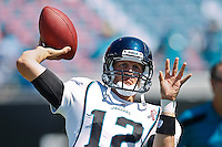 Sept 11, 2011:   Jacksonville Jaguars quarterback Luke McCown (12) warms up before the start of the game between the Jacksonville Jaguars and the Tennessee Titans at EverBank Field in Jacksonville, Florida. Jacksonville defeated Tennessee 16-14.........