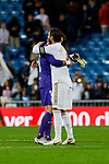 Sergio Ramos of Real Madrid and Juan Soriano of CD Leganes after La Liga match between Real Madrid and CD Leganes at Santiago Bernabeu Stadium in Madrid, Spain. October 30, 2019. (ALTERPHOTOS/A. Perez Meca)
