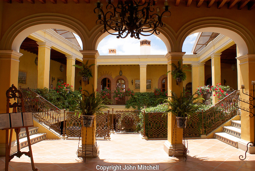 Entranceway and courtyard of the Posada de las Minas, a member of Mexico Boutique Hotels, in Mineral de Pozos, Guanajuato, Mexico