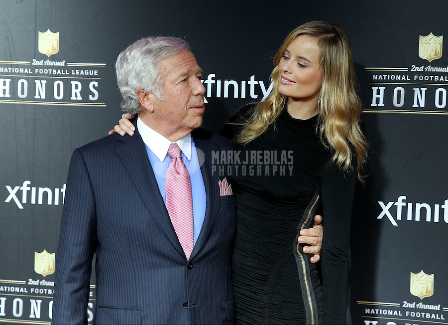 Feb. 2, 2013; New Orleans, LA, USA: New England Patriots owner Robert Craft (left) with actress Ricki Noel Lander on the red carpet prior to the Super Bowl XLVII NFL Honors award show at Mahalia Jackson Theater. Mandatory Credit: Mark J. Rebilas-USA TODAY Sports