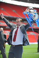 Newport County manager Justin Edinburgh with the cup  during the Newport County v Wrexham Blue Sq. Bet Premier league playoff final at Wembley Stadium, London, England Sunday 5th May 2013. Credit for pictures to Jeff Thomas Photography - www.jaypics.photoshelter.com - 07837 386244 - Use of images are restricted without prior permission of the copyright owner Jeff Thomas Photography.