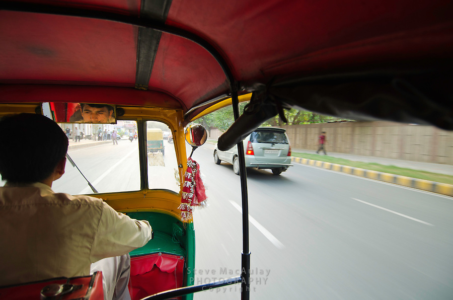 View from inside the autorickshaw, New Delhi, India
