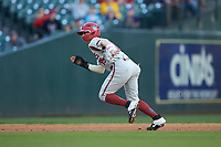 Casey Martin (15) of the Arkansas Razorbacks takes off for third base during the game against the Oklahoma Sooners in game two of the 2020 Shriners Hospitals for Children College Classic at Minute Maid Park on February 28, 2020 in Houston, Texas. The Sooners defeated the Razorbacks 6-3. (Brian Westerholt/Four Seam Images)