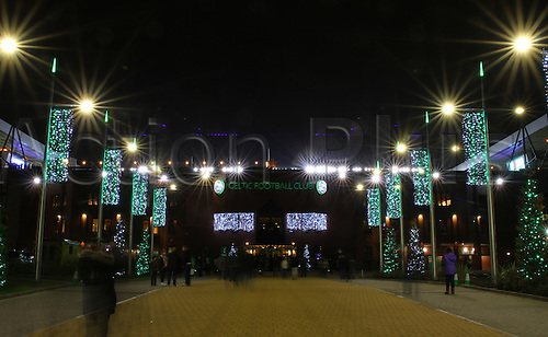 03.12.2014.  Glasgow, Scotland. Scottish Premier League.  Celtic versus Partick Thistle. Celtic Park lit up for Christmas