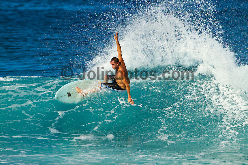 Haleiwa Hawaii,(Monday November 21, 2010) Taylor Knox (USA) riding a fish surfboard..Three to four foot west nor west swell with light variable winds were the conditions for today's sessions at Off The Wall and Backdoor..Photo: joliphotos.com