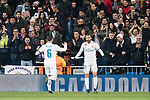 Borja Mayoral of Real Madrid (R) celebrating his score during the Europe Champions League 2017-18 match between Real Madrid and Borussia Dortmund at Santiago Bernabeu Stadium on 06 December 2017 in Madrid Spain. Photo by Diego Gonzalez / Power Sport Images