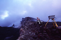 new video camera and old cameras on the north rim of Pu'u o'o vent Volcanoes National Park, Hawaii, USA, Big Island, Pacific Ocean