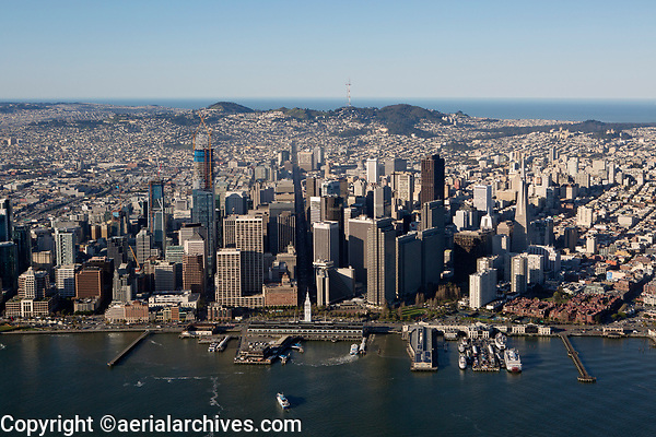 aerial photograph of the San Francisco waterfront and skyline