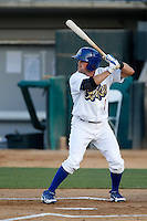 Scott Schebler #24 of the Rancho Cucamonga Quakes bats against the Stockton Ports at LoanMart Field on June 13, 2013 in Rancho Cucamonga, California. Stockton defeated Rancho Cucamonga, 8-4. (Larry Goren/Four Seam Images)