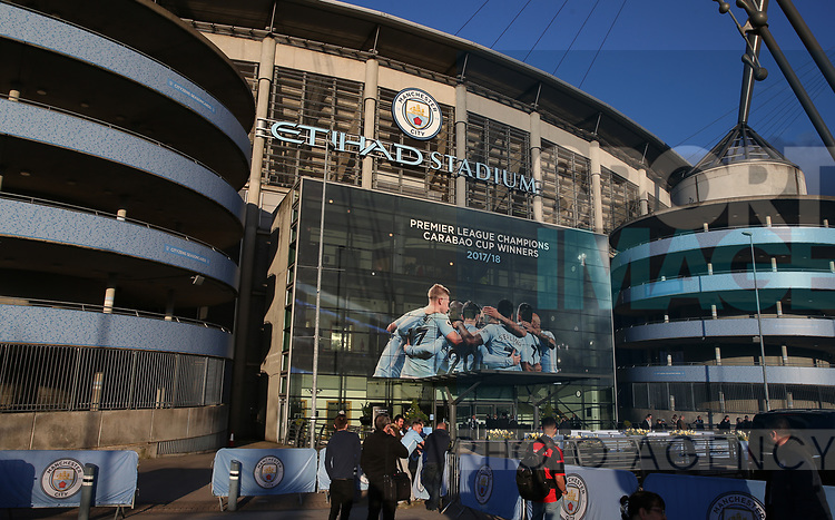 Giant poster erected to proclaim the teams achievments during the premier league match at the Etihad Stadium, Manchester. Picture date 22nd April 2018. Picture credit should read: Simon Bellis/Sportimage