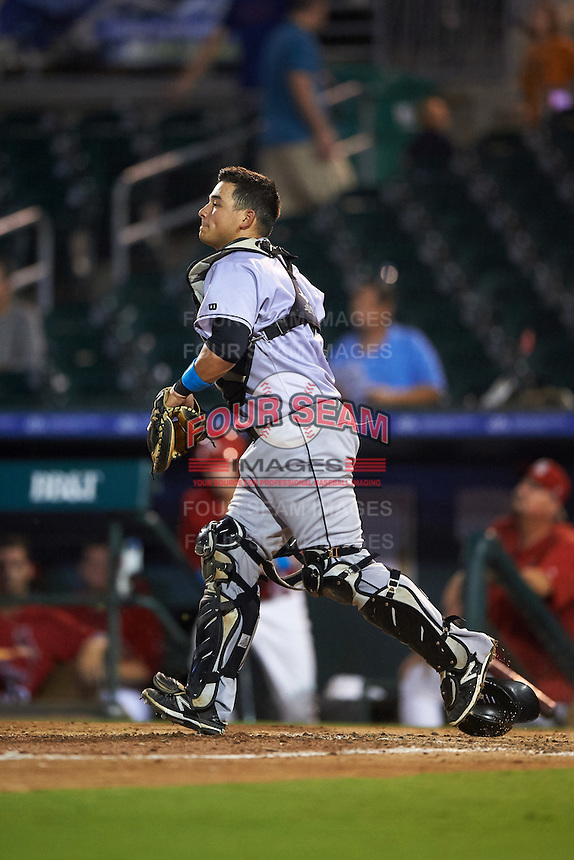 Jupiter Hammerheads catcher Chris Hoo (8) during a game against the Palm Beach Cardinals on August 12, 2016 at Roger Dean Stadium in Jupiter, Florida.  Jupiter defeated Palm Beach 9-0.  (Mike Janes/Four Seam Images)